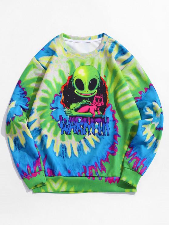 women Tie Dye ET Cat Print Pullover Sweatshirt - GREEN L