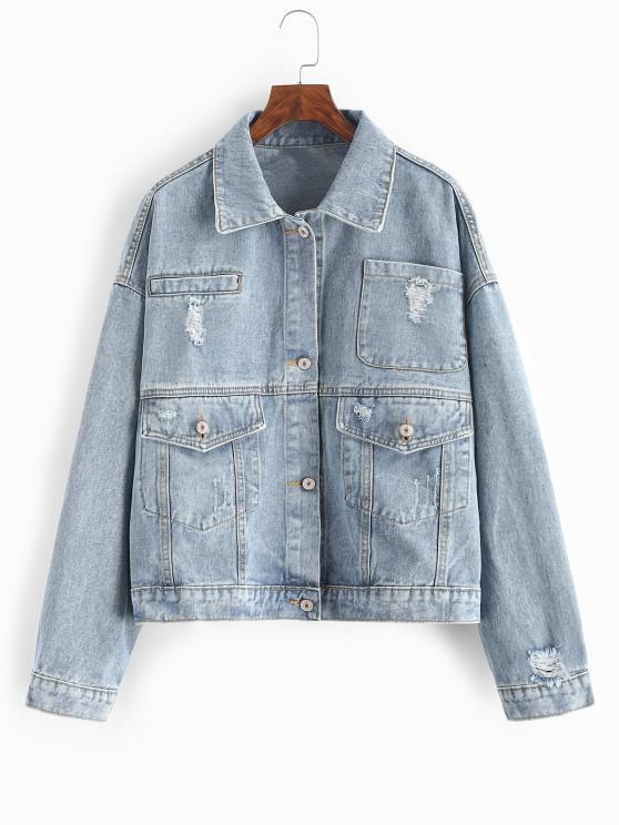 online Ripped Flap Pocket Drop Shoulder Jean Jacket - LIGHT BLUE M
