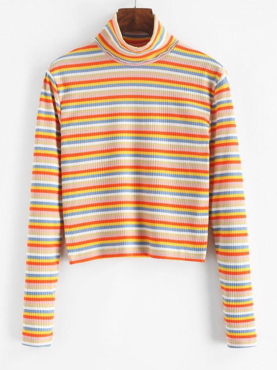 Turtleneck Striped Ribbed Slim Knitwear - متعدد XL