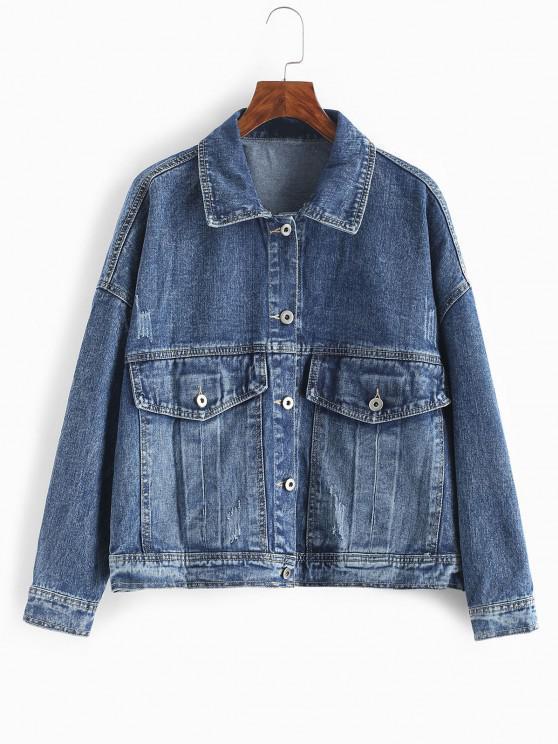 Flap Pockets Button Up Denim Jacket - داكن سليت أزرق S
