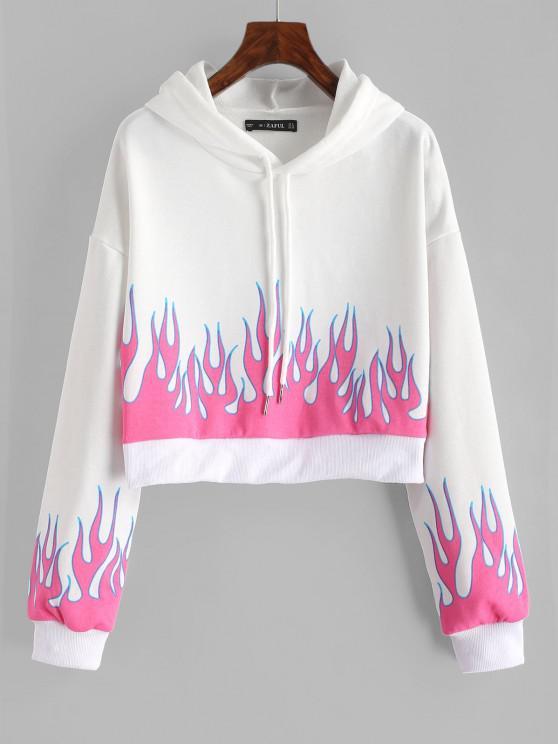 Drawstring Cropped Flame Print Hoodie - أبيض L