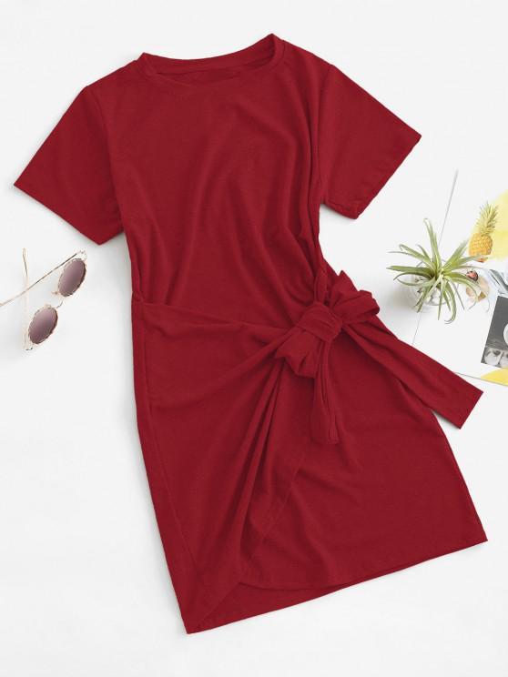 shop Overlap Tie Short Sleeve Tee Dress - RED M