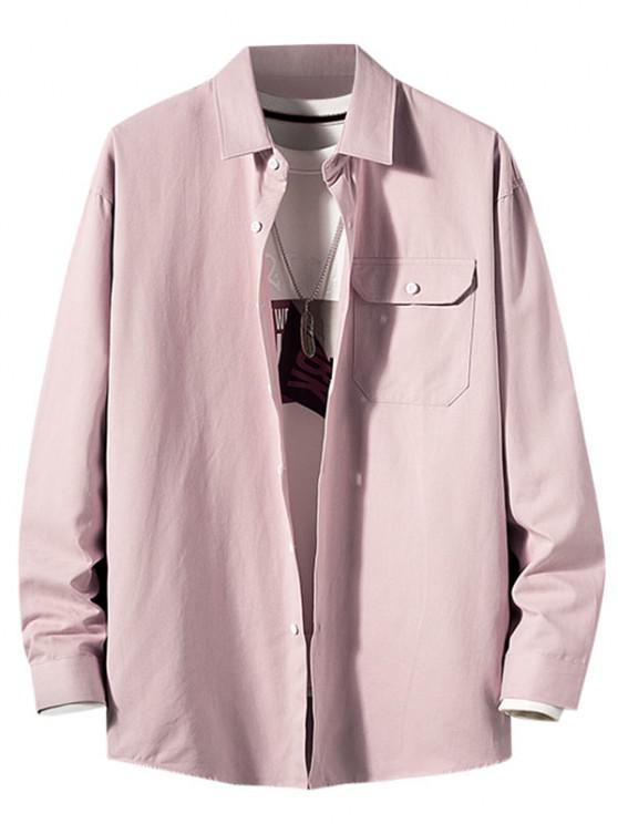 Camisa de Manga Larga con Parche de Bolsillo de Color Sólido - Rosado 2XL