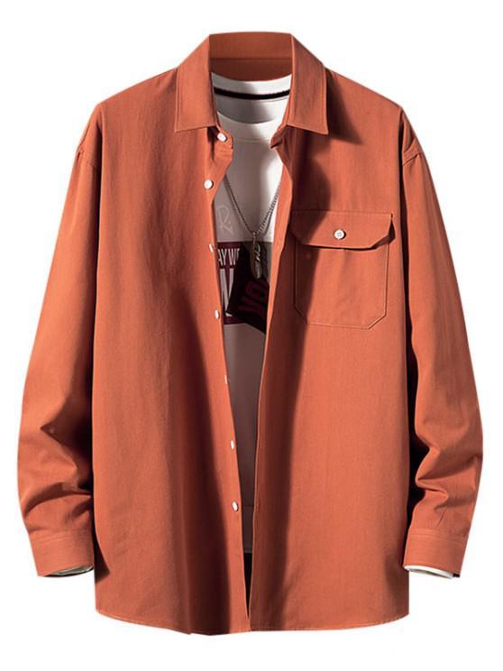 Camisa de Manga Larga con Parche de Bolsillo de Color Sólido - Caoba M