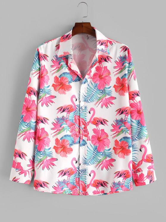 ladies Tropical Flower Flamingo Print Button Up Shirt - MILK WHITE L
