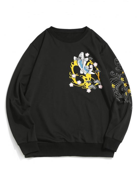 ladies ZAFUL Koi Fish Floral Waves Print Sweatshirt - BLACK XL