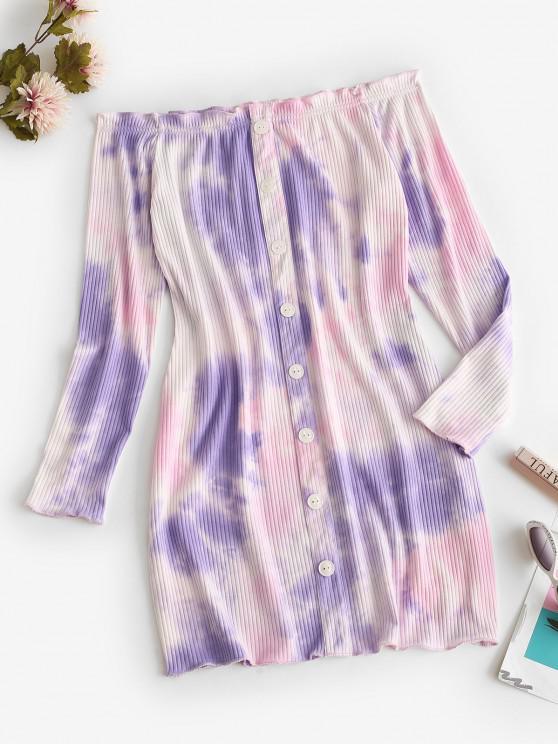 buy Off Shoulder Ribbed Tie Dye Long Sleeve Dress - LIGHT PURPLE XL