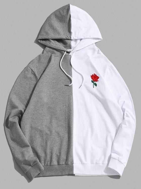 ZAFUL Bicolor Floral Embroidery Casual Drawstring Hoodie - أبيض S