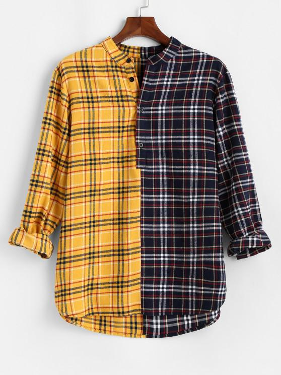 Color Blocking Panel Plaid Long Sleeve Shirt - الأصفر XS
