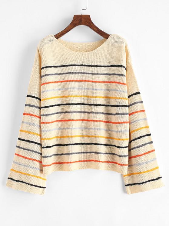 Drop Shoulder Mixed Stripes Sweater - متعددة-A L