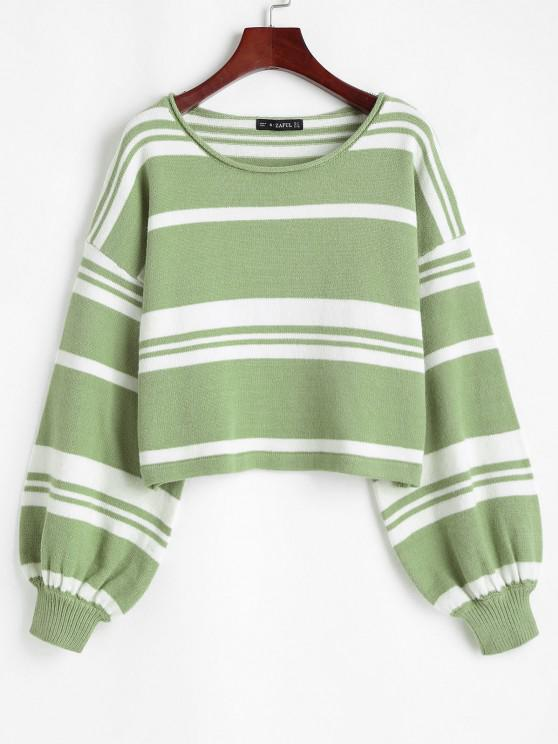 Slouchy Striped Voluminous Sleeve Sweater - أخضر M