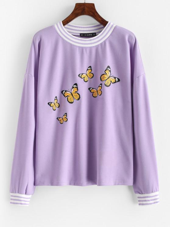 Striped Butterfly Print Drop Shoulder Sweatshirt - أرجواني L