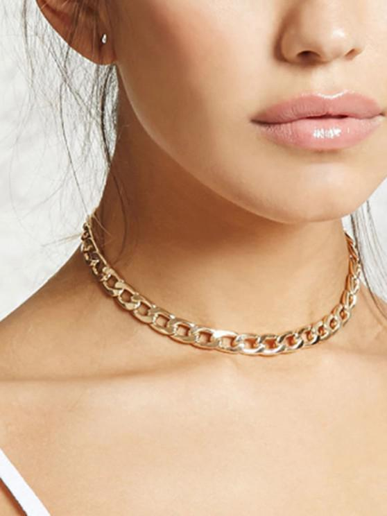 Chain Choker Necklace - ذهبي
