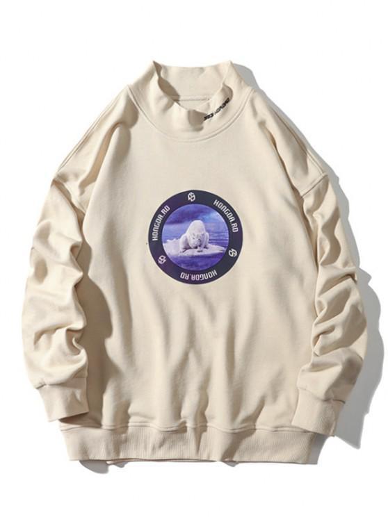 new Sea Bear Letter Graphic Print Mock Neck Sweatshirt - BEIGE L