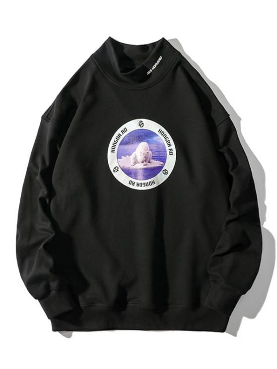 Sea Bear Letter Graphic Print Mock Neck Sweatshirt - أسود XL