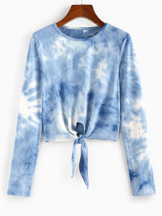 outfit ZAFUL Tie Dye Front Tie Crop Tee - DENIM BLUE M