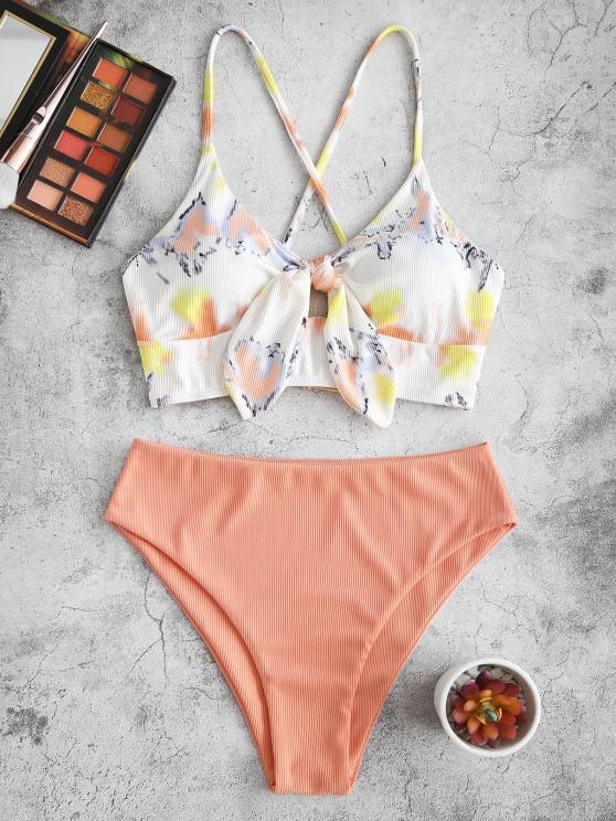 outfit ZAFUL Tie Dye Ribbed Knot Lace-up Tankini Swimwear - LIGHT ORANGE M