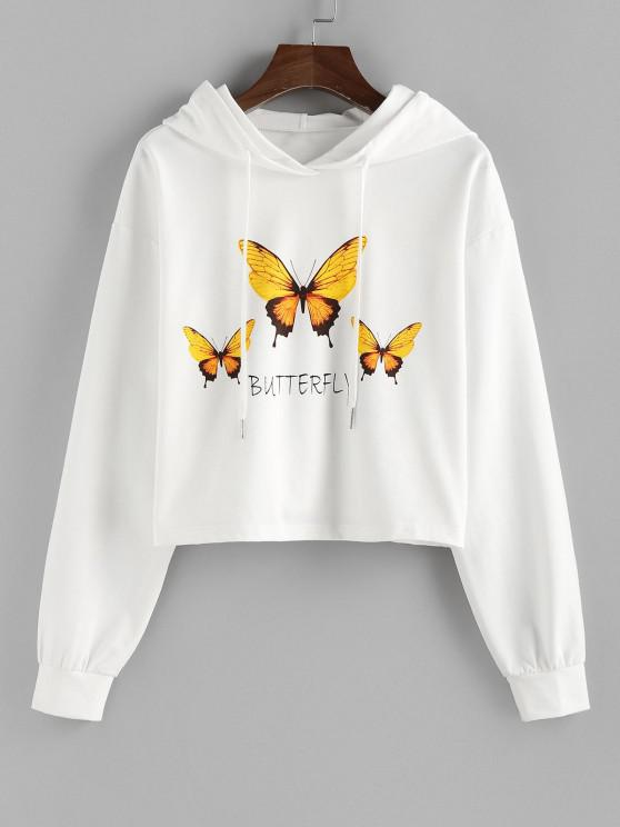 womens ZAFUL Drop Shoulder Butterfly Graphic Pullover Hoodie - WHITE M