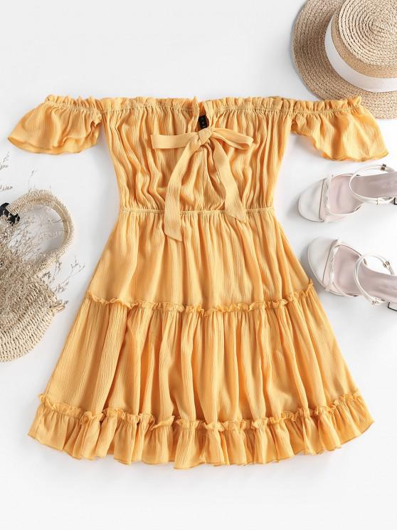 ZAFUL Off Shoulder Bowknot Ruffle Dress - الأصفر XL