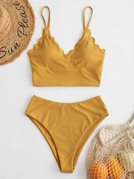 ZAFUL Ribbed Scalloped Surplice Tankini Swimwear - اصفر غامق M