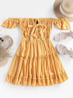 ZAFUL Off Shoulder Bowknot Ruffle Dress - Yellow M