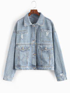 Ripped Flap Pocket Drop Shoulder Jean Jacket - Light Blue L
