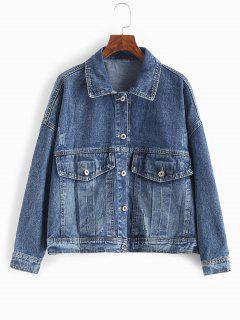 Flap Pockets Button Up Denim Jacket - Dark Slate Blue M