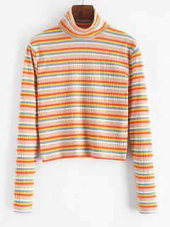 Turtleneck Striped Ribbed Slim Knitwear - Multi M