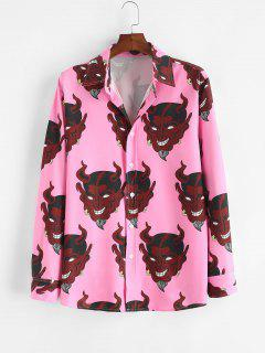 Devil Print Button Up Shirt - Light Pink 2xl