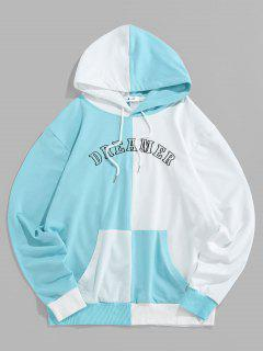 ZAFUL Letter Print Two Tone Hoodie - Light Blue M