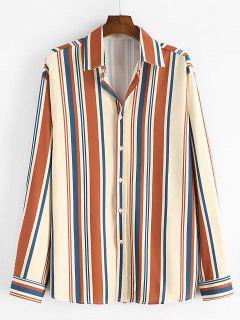 Stripe Print Button Up Long Sleeve Shirt - Camel Brown S