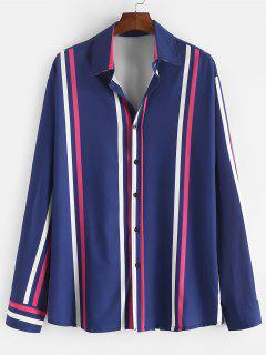 Long Sleeve Vertical Striped Lounge Shirt - Midnight Blue 2xl