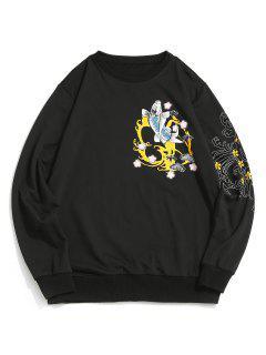 ZAFUL Koi Fish Floral Waves Print Sweatshirt - Black Xl