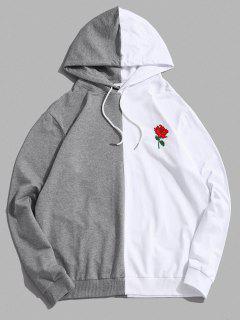 ZAFUL Bicolor Blumen Stickerei Lässige Tunnelzug Hoodie - Weiß S
