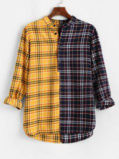 Color Blocking Panel Plaid Long Sleeve Shirt - Yellow M