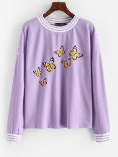 Sweat-shirt Rayé Imprimé Papillon àGoutte Epaule - Pourpre  S