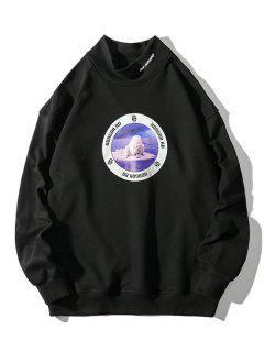 Sea Bear Letter Graphic Print Mock Neck Sweatshirt - Black M