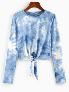 ZAFUL T-shirt Court Teinté Noué En Avant - Bleu Toile De Jean M
