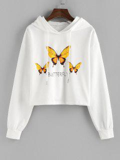 ZAFUL Drop Shoulder Butterfly Graphic Pullover Hoodie - White Xl