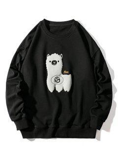Sheep Pattern Drop Shoulder Sweatshirt - Black L