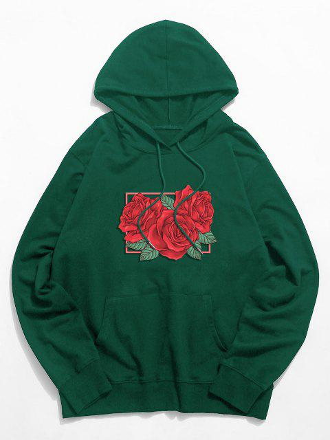 best Rose Floral Graphic Drawstring Pouch Pocket Hoodie - DEEP GREEN M Mobile