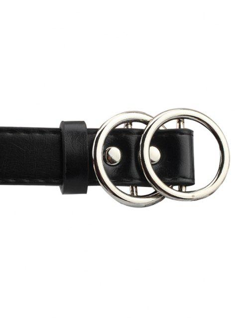 affordable Brief Double Circle Buckle Belt - SILVER  Mobile