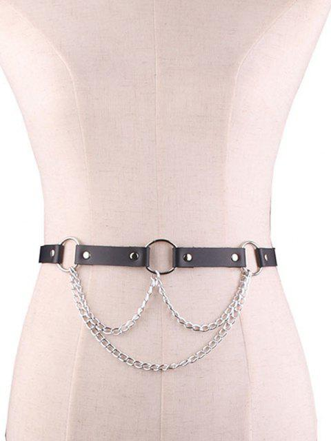 fancy Punk Chain O Ring Waist Belt - BLACK  Mobile