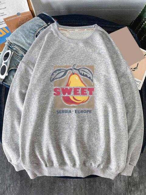 new Sweet Fruit Pattern Crew Neck Sweatshirt - LIGHT GRAY 2XL Mobile