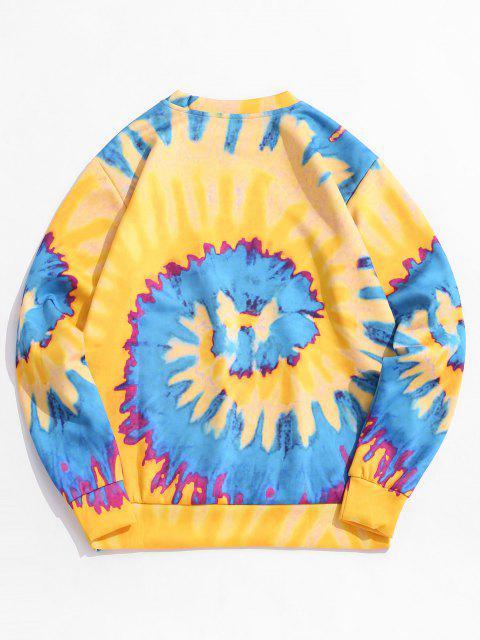 Sweat-shirt Pull-over Teinté Chat Imprimé - Jaune Clair 2XL Mobile