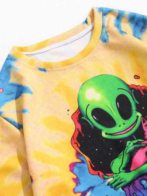 sale Tie Dye ET Cat Print Pullover Sweatshirt - BRIGHT YELLOW M Mobile