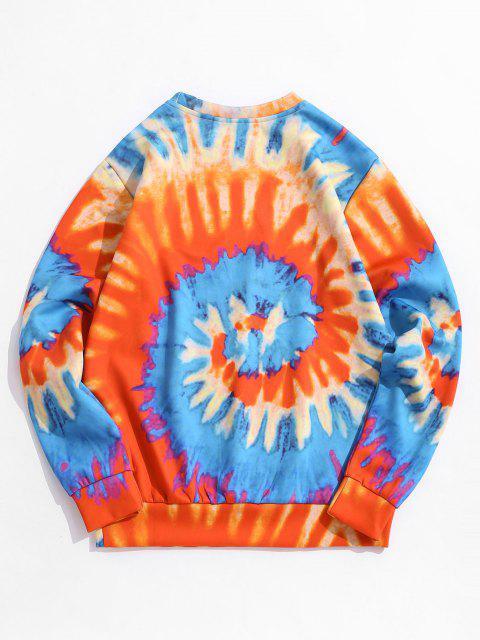 womens Tie Dye ET Cat Print Pullover Sweatshirt - PAPAYA ORANGE XL Mobile