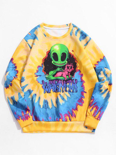 new Tie Dye ET Cat Print Pullover Sweatshirt - BRIGHT YELLOW XL Mobile