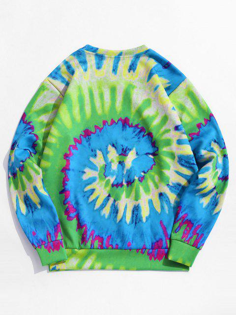 best Tie Dye ET Cat Print Pullover Sweatshirt - GREEN M Mobile