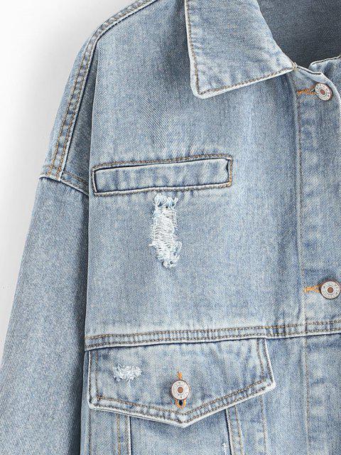 sale Ripped Flap Pocket Drop Shoulder Jean Jacket - LIGHT BLUE S Mobile